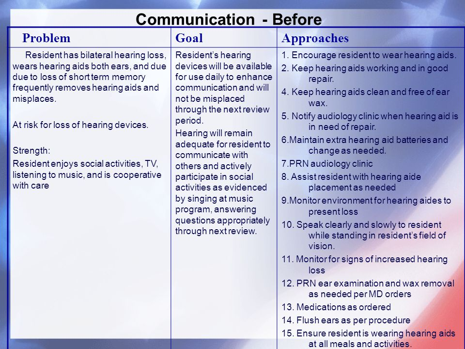Communication - Before ProblemGoalApproaches Resident has bilateral hearing loss, wears hearing aids both ears, and due due to loss of short term memory frequently removes hearing aids and misplaces.