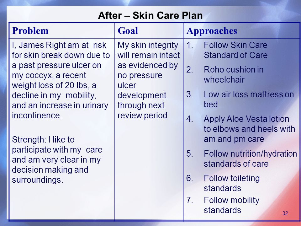 After – Skin Care Plan ProblemGoalApproaches I, James Right am at risk for skin break down due to a past pressure ulcer on my coccyx, a recent weight loss of 20 lbs, a decline in my mobility, and an increase in urinary incontinence.