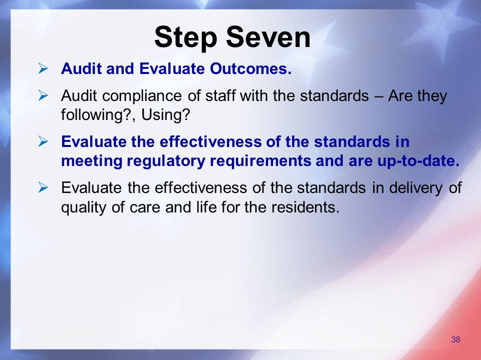  Audit and Evaluate Outcomes.