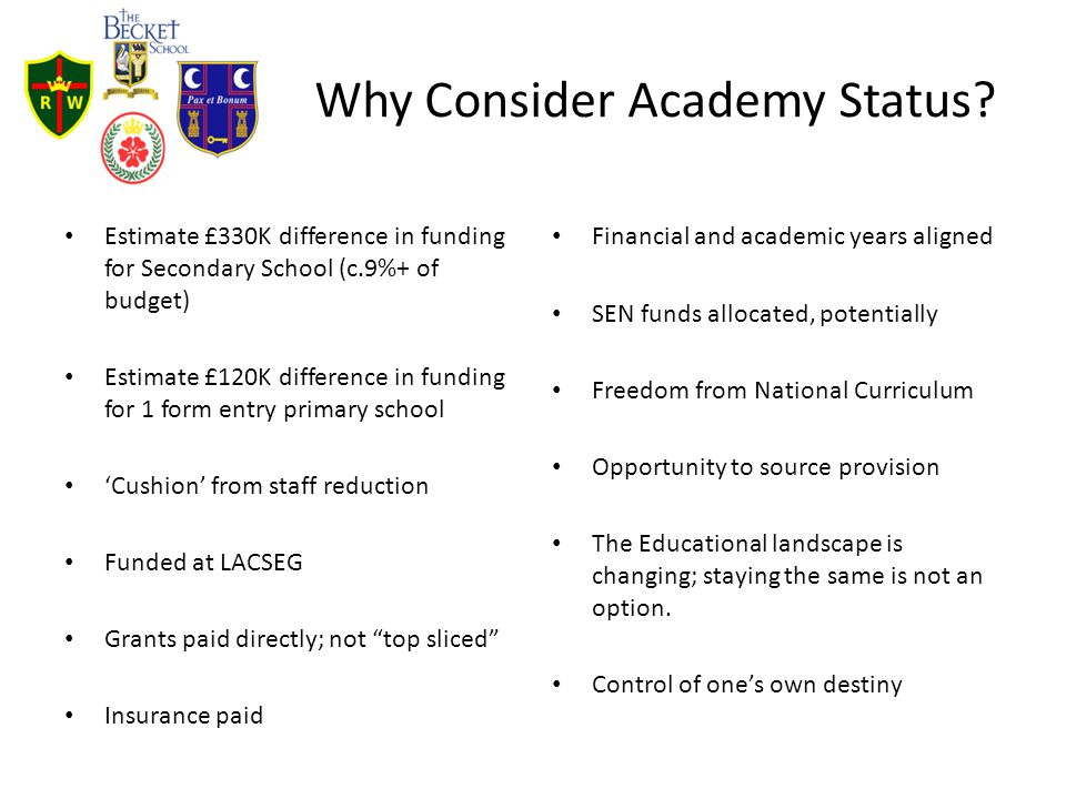 Why Consider Academy Status? Estimate £330K difference in funding for Secondary School (c.9%+ of budget) Estimate £120K difference in funding for 1 fo