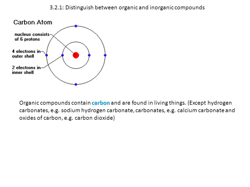 3.2.1: Distinguish between organic and inorganic compounds carbon Organic compounds contain carbon and are found in living things. (Except hydrogen ca