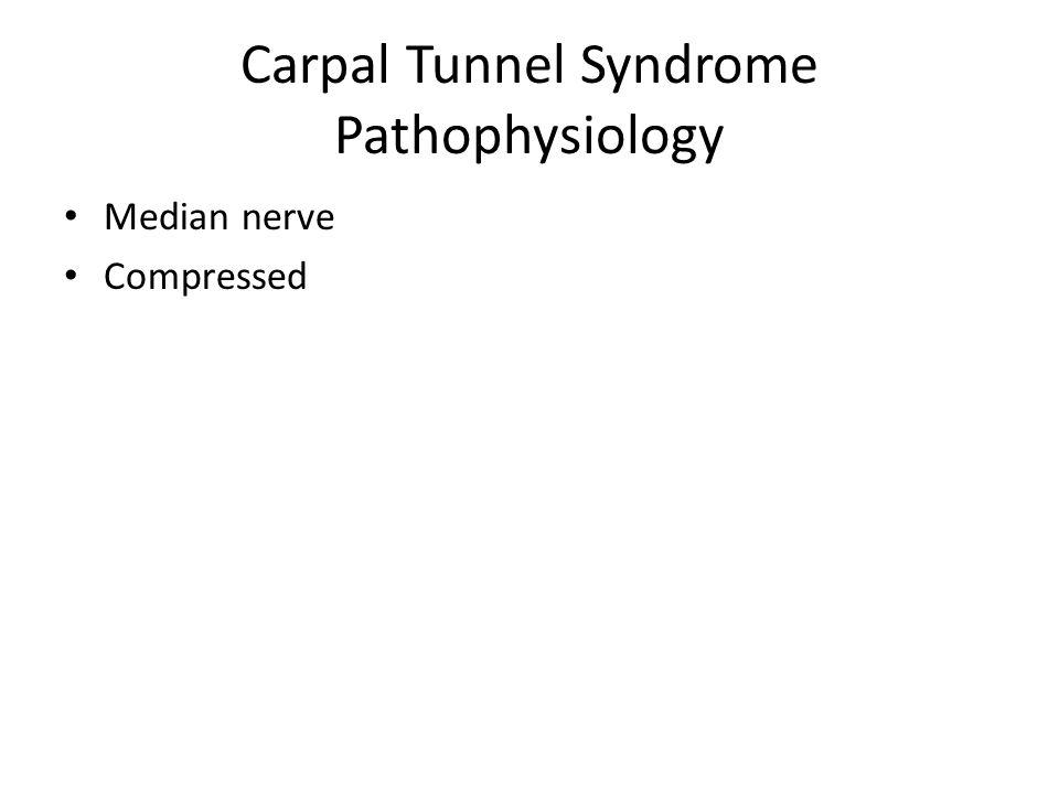 Carpal Tunnel Syndrome Pathophysiology Median nerve Compressed