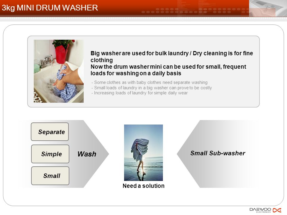 - Some clothes as with baby clothes need separate washing - Small loads of laundry in a big washer can prove to be costly - Increasing loads of laundry for simple daily wear Separate Simple Small Need a solution Big washer are used for bulk laundry / Dry cleaning is for fine clothing Now the drum washer mini can be used for small, frequent loads for washing on a daily basis 3kg MINI DRUM WASHER Small Sub-washer Wash