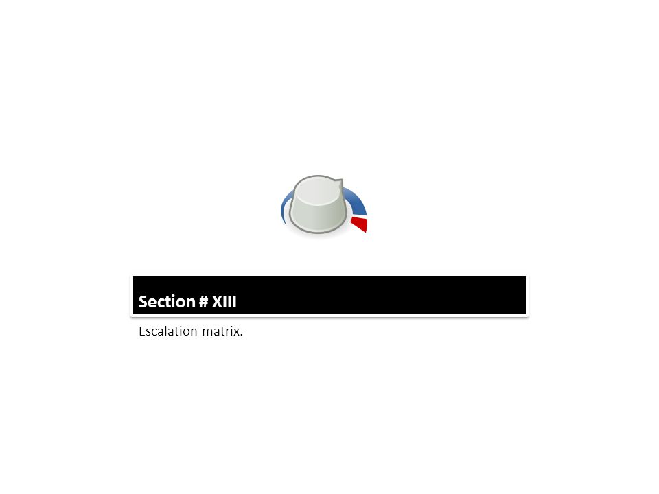 Section # XIII Escalation matrix.