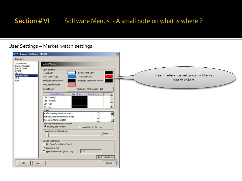 User Settings – Market watch settings. User Preference settings for Market watch colors.