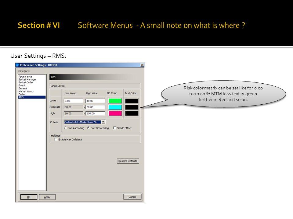 User Settings – RMS.