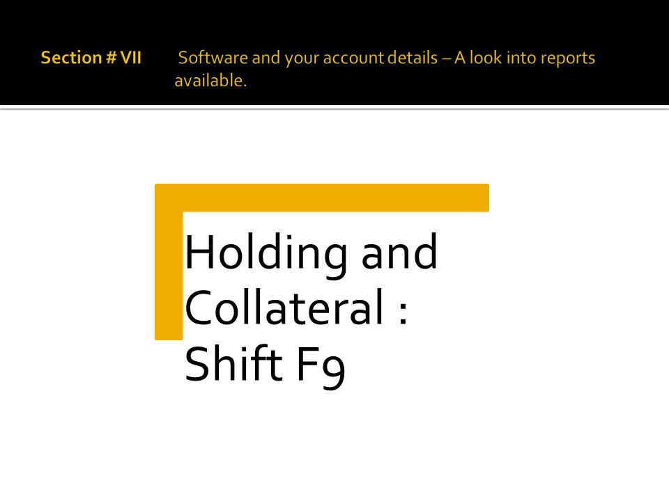 Holding and Collateral : Shift F9