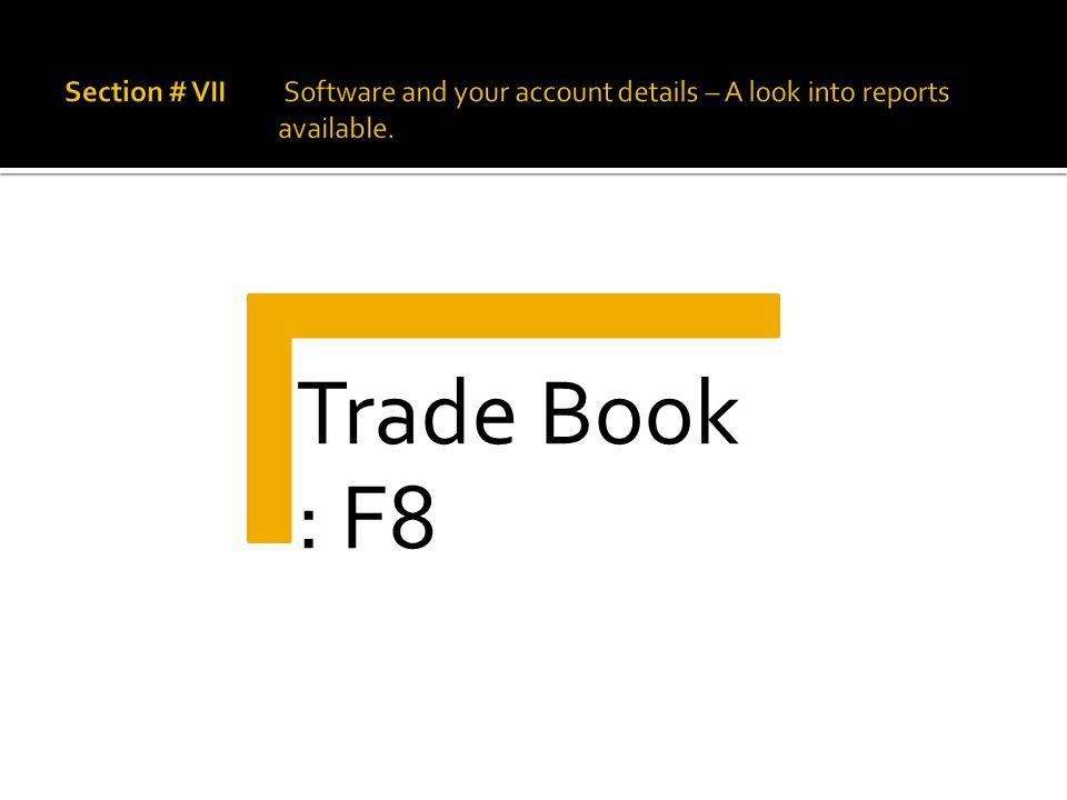 Trade Book : F8