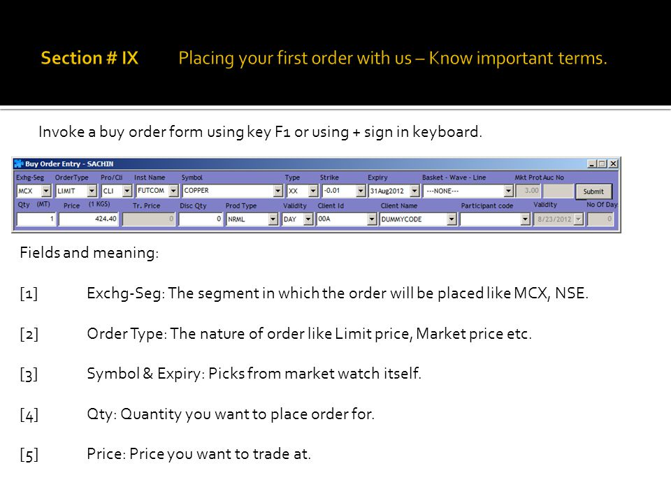 Invoke a buy order form using key F1 or using + sign in keyboard.