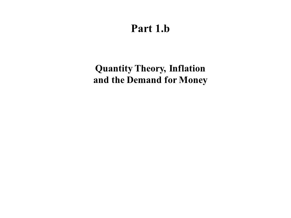 Part 1.b Quantity Theory, Inflation and the Demand for Money