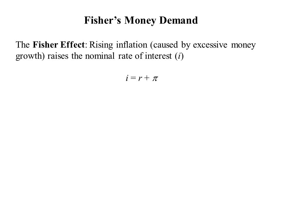The Fisher Effect: Rising inflation (caused by excessive money growth) raises the nominal rate of interest (i) Source: IFS data for 120 countries, averaged over years 1996-2004 Fisher's Money Demand Source: Federal Reserve Economic Data (FRED) i = r + 