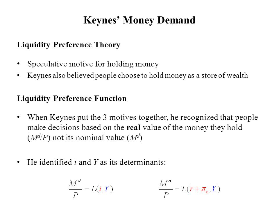 Liquidity Preference Theory Speculative motive for holding money Keynes also believed people choose to hold money as a store of wealth Liquidity Prefe