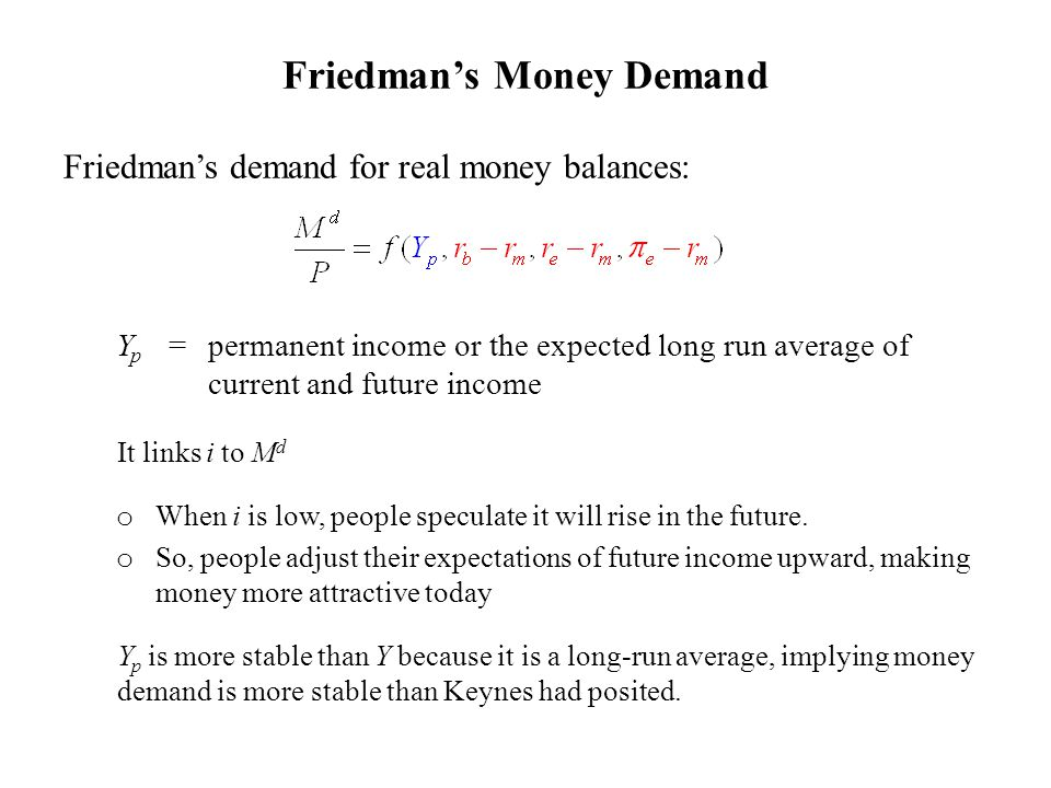 Friedman's Money Demand Friedman's demand for real money balances: Y p =permanent income or the expected long run average of current and future income It links i to M d o When i is low, people speculate it will rise in the future.