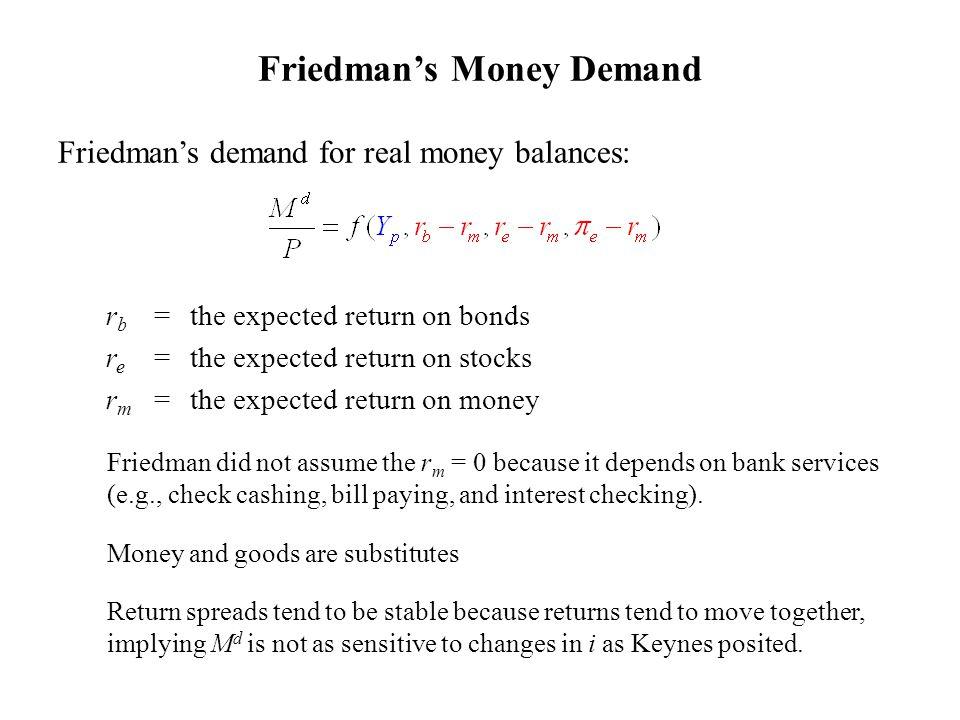 Friedman's Money Demand Friedman's demand for real money balances: r b = the expected return on bonds r e = the expected return on stocks r m = the ex