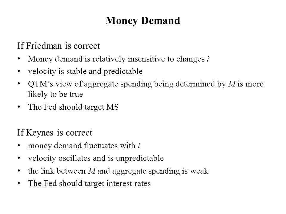 Money Demand If Friedman is correct Money demand is relatively insensitive to changes i velocity is stable and predictable QTM's view of aggregate spending being determined by M is more likely to be true The Fed should target MS If Keynes is correct money demand fluctuates with i velocity oscillates and is unpredictable the link between M and aggregate spending is weak The Fed should target interest rates