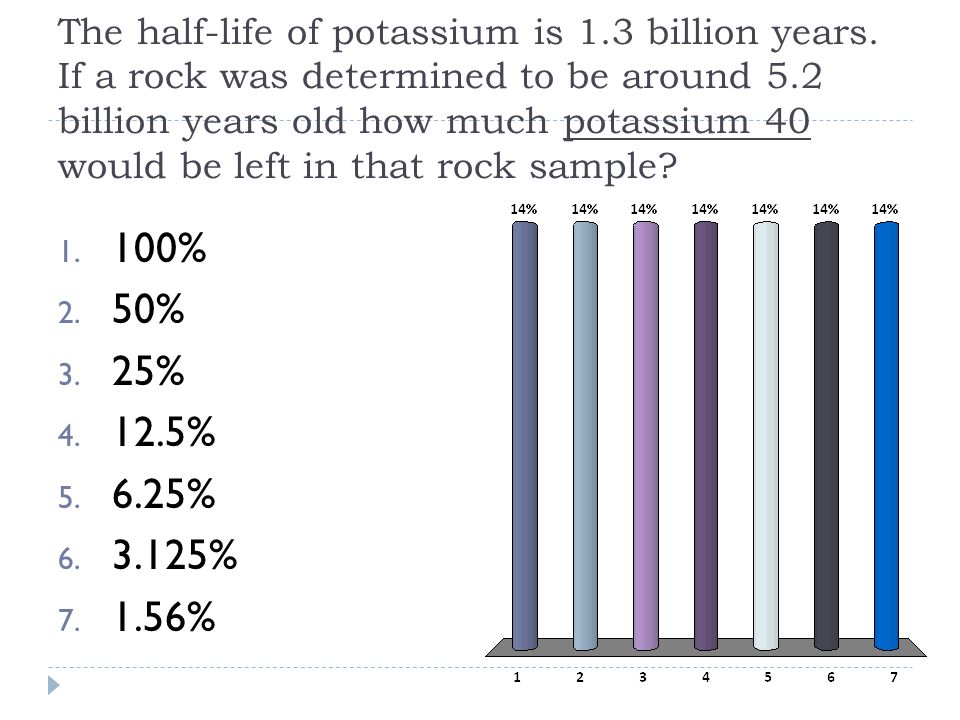 The half-life of potassium is 1.3 billion years. If a rock was determined to be around 5.2 billion years old how much potassium 40 would be left in th
