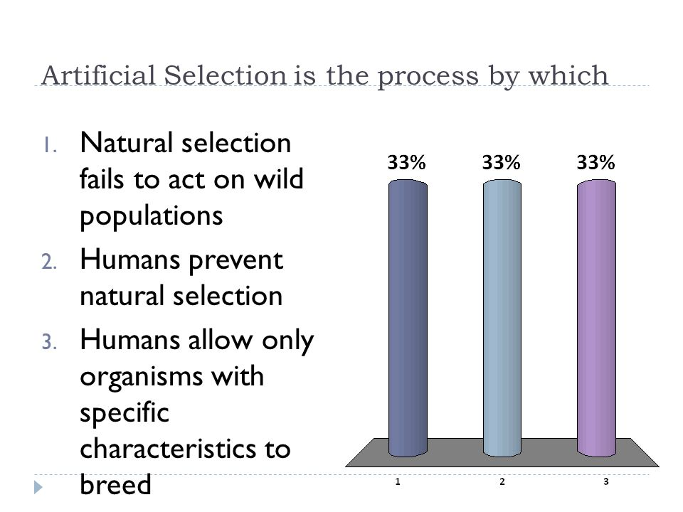 Artificial Selection is the process by which 1. Natural selection fails to act on wild populations 2. Humans prevent natural selection 3. Humans allow