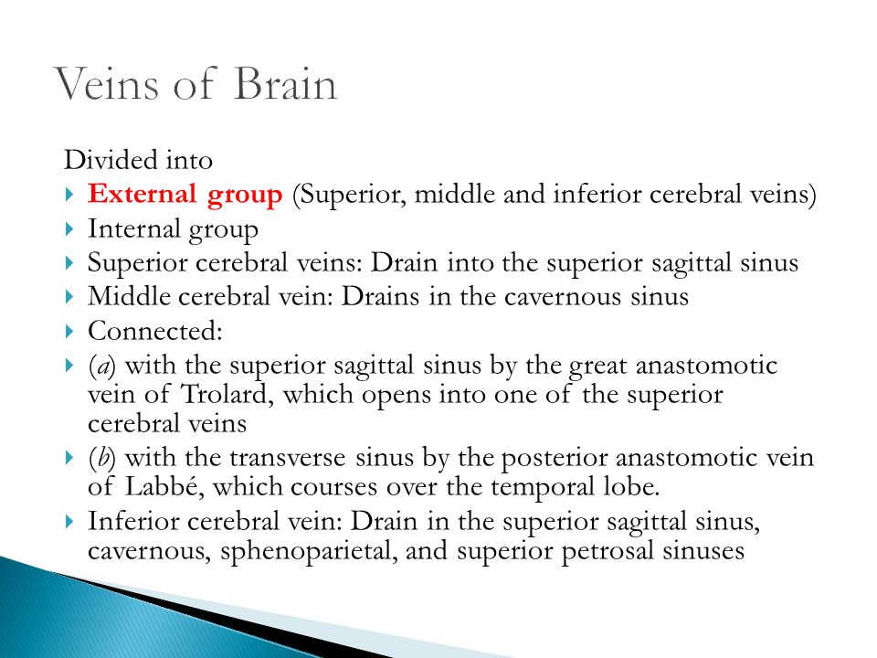Divided into  External group (Superior, middle and inferior cerebral veins)  Internal group  Superior cerebral veins: Drain into the superior sagit