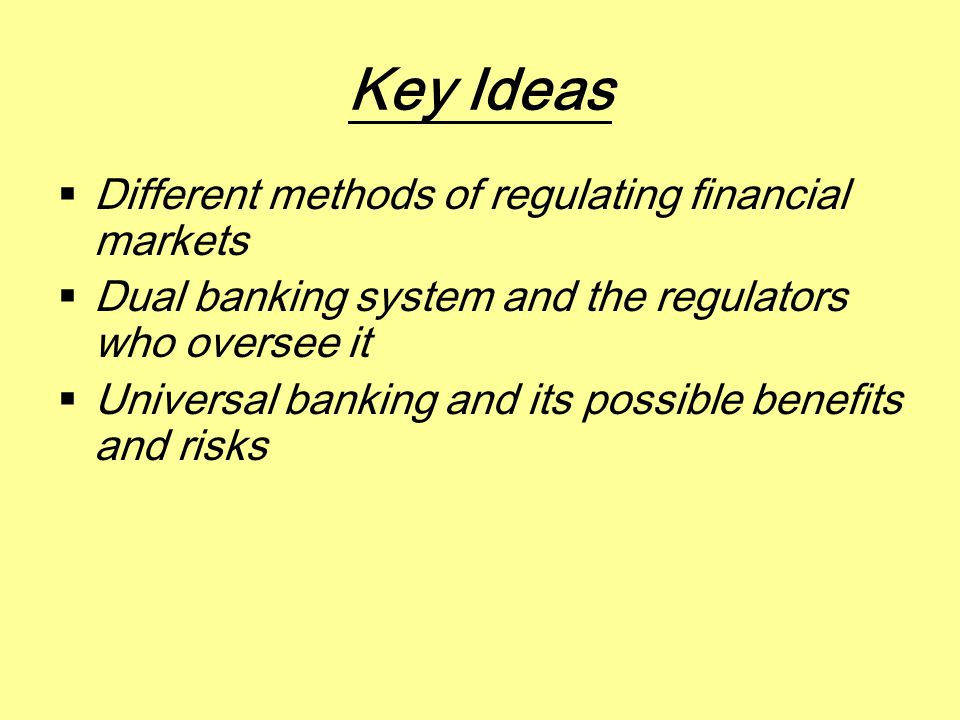 Introduction  Financial system is one of most intensely regulated sectors in US economy  Objectives of the regulations are:  To promote competition  To protect individual consumers  To maintain stability of financial system  To facilitate monetary policy