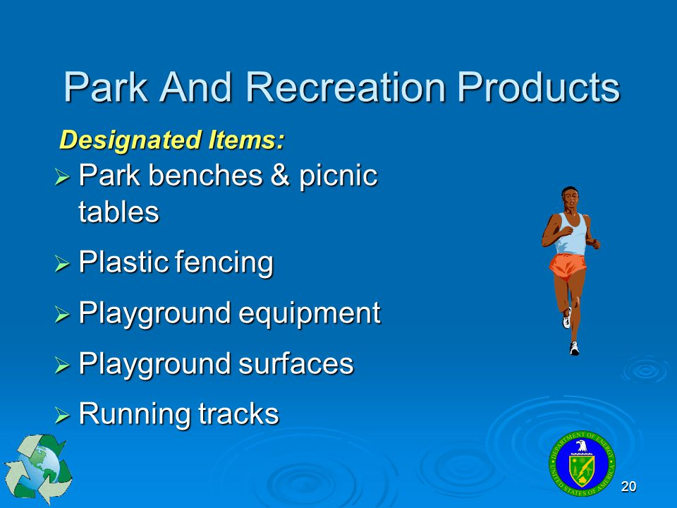 20 Park And Recreation Products  Park benches & picnic tables  Plastic fencing  Playground equipment  Playground surfaces  Running tracks Designa