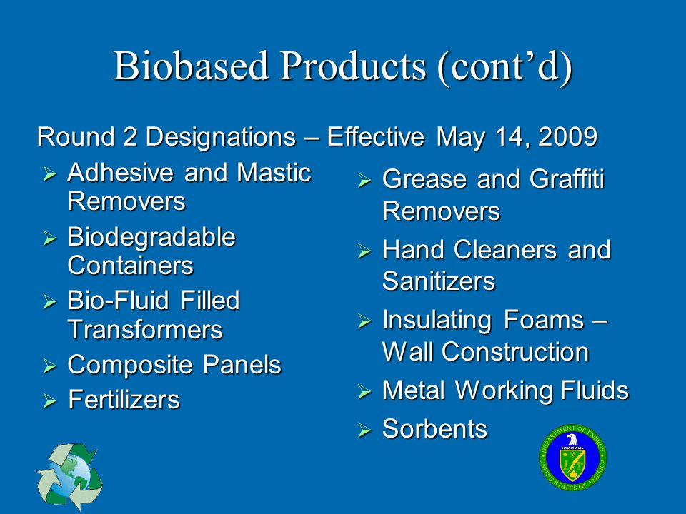 Biobased Products (cont'd)  Adhesive and Mastic Removers  Biodegradable Containers  Bio-Fluid Filled Transformers  Composite Panels  Fertilizers