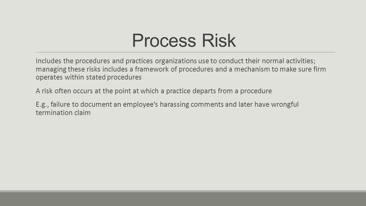 Process Risk Includes the procedures and practices organizations use to conduct their normal activities; managing these risks includes a framework of procedures and a mechanism to make sure firm operates within stated procedures A risk often occurs at the point at which a practice departs from a procedure E.g., failure to document an employee's harassing comments and later have wrongful termination claim