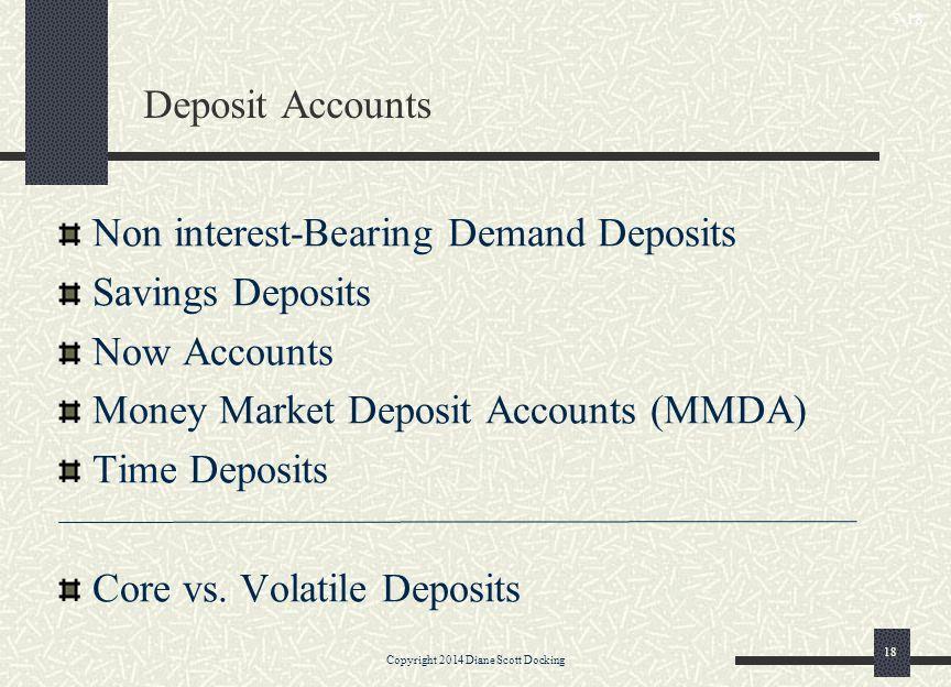 Deposit Accounts Non interest-Bearing Demand Deposits Savings Deposits Now Accounts Money Market Deposit Accounts (MMDA) Time Deposits Core vs. Volati