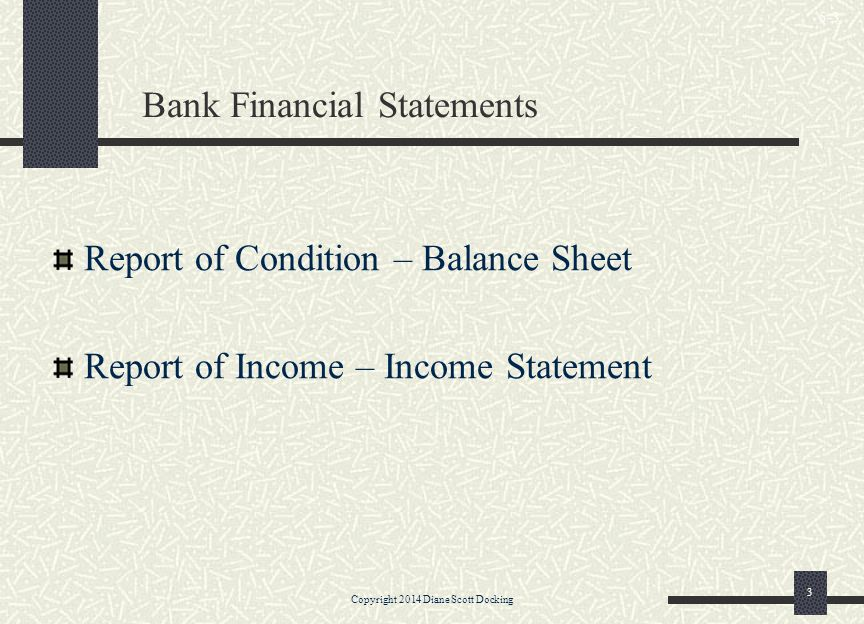 Bank Financial Statements Report of Condition – Balance Sheet Report of Income – Income Statement Copyright 2014 Diane Scott Docking 3 5-3