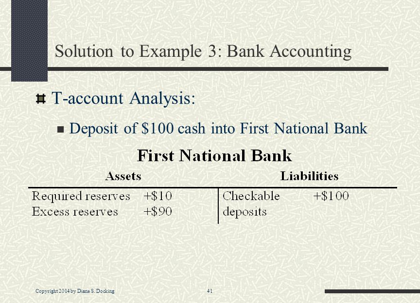 Copyright 2014 by Diane S. Docking 41 Solution to Example 3: Bank Accounting T-account Analysis: Deposit of $100 cash into First National Bank