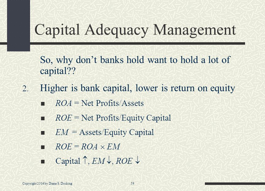 Copyright 2014 by Diane S. Docking 59 Capital Adequacy Management So, why don't banks hold want to hold a lot of capital?? 2. Higher is bank capital,