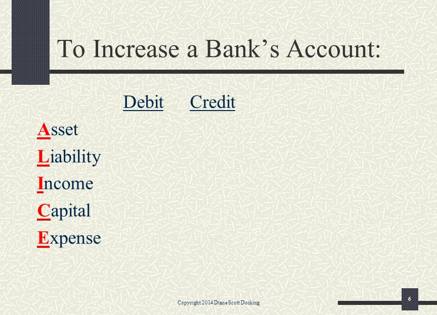 6 To Increase a Bank's Account: Debit Credit Asset Liability Income Capital Expense