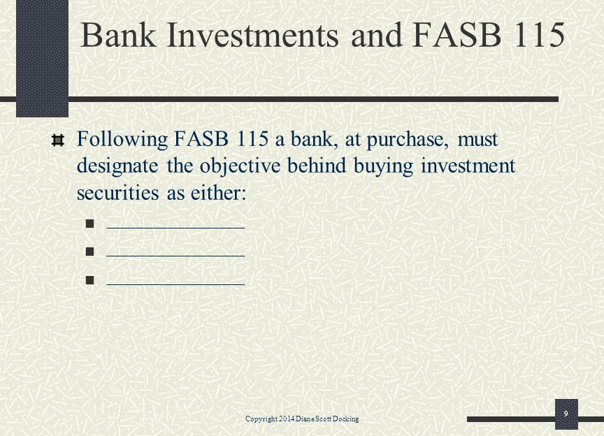 Equity Capital Accounts ____________________ Stock Listed at par ____________________ Stock Ownership interest in the bank.