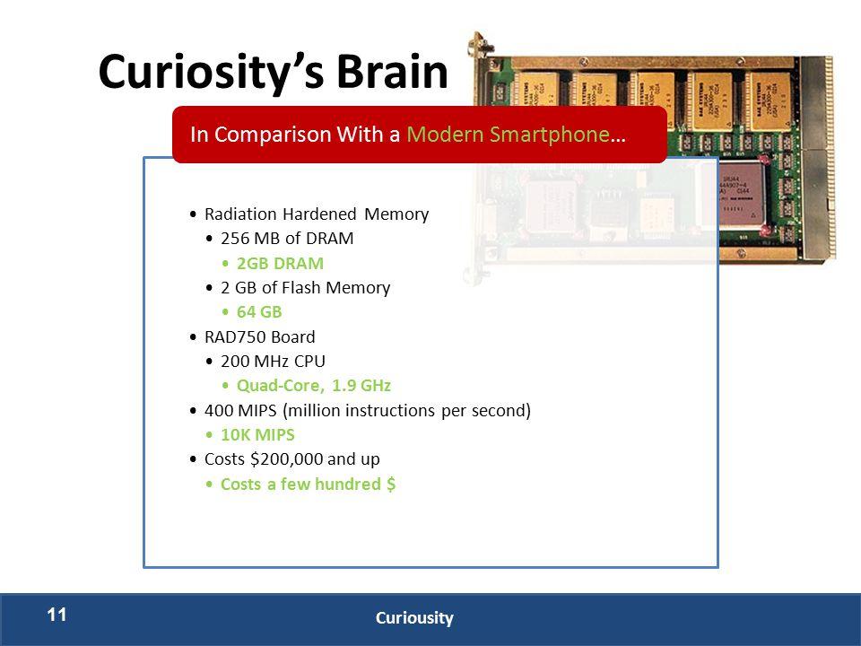 11 Curiousity Curiosity's Brain Radiation Hardened Memory 256 MB of DRAM 2GB DRAM 2 GB of Flash Memory 64 GB RAD750 Board 200 MHz CPU Quad-Core, 1.9 G