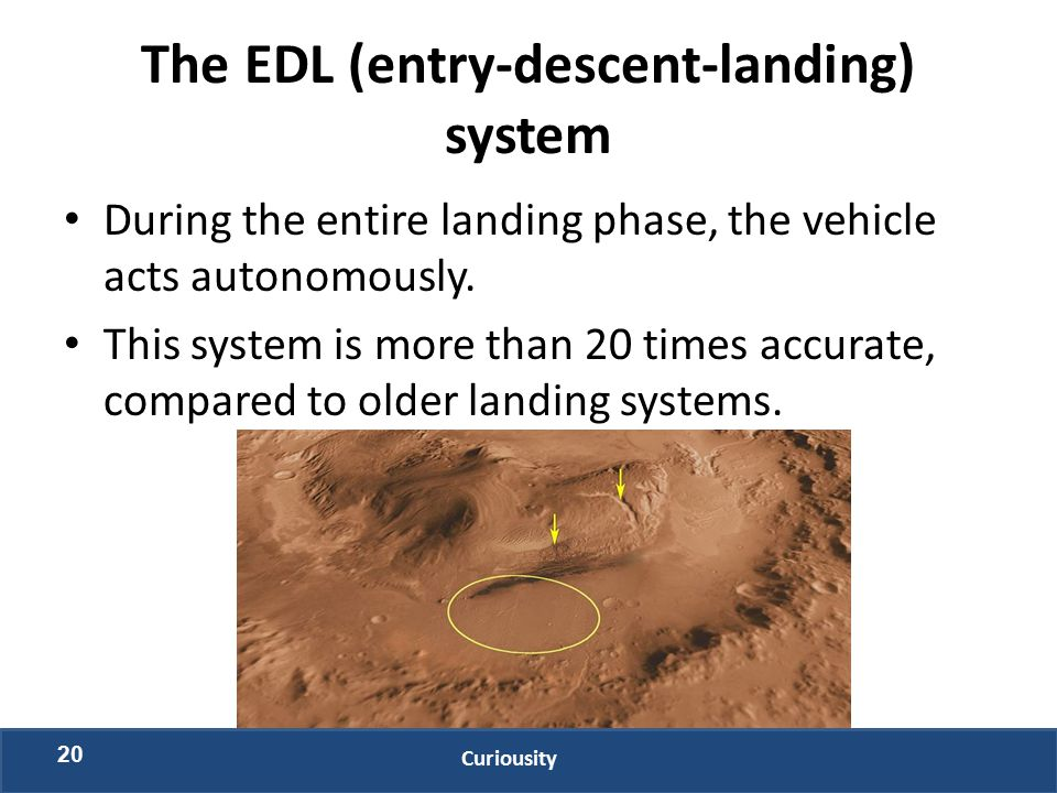 The EDL (entry-descent-landing) system During the entire landing phase, the vehicle acts autonomously.