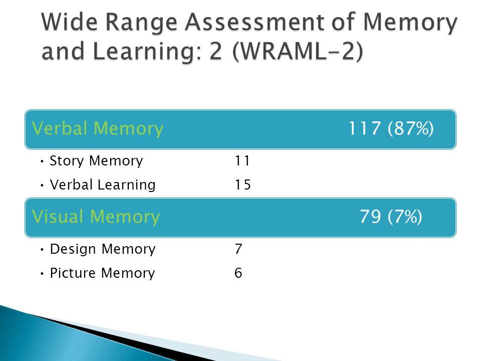 Verbal Memory117 (87%) Story Memory11 Verbal Learning15 Visual Memory 79 (7%) Design Memory7 Picture Memory6
