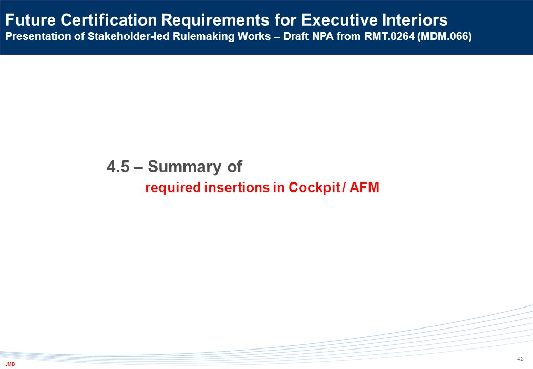 4.5 – Summary of required insertions in Cockpit / AFM 42 Future Certification Requirements for Executive Interiors Presentation of Stakeholder-led Rul