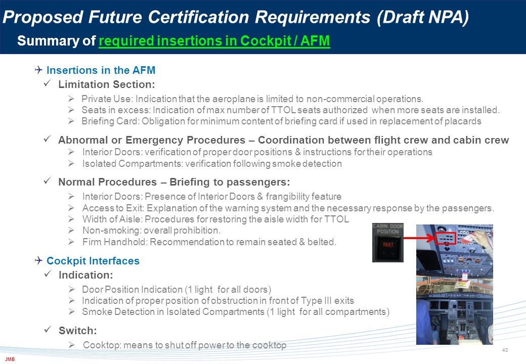 43 Proposed Future Certification Requirements (Draft NPA) Summary of required insertions in Cockpit / AFM JMB  Insertions in the AFM  Cockpit Interf