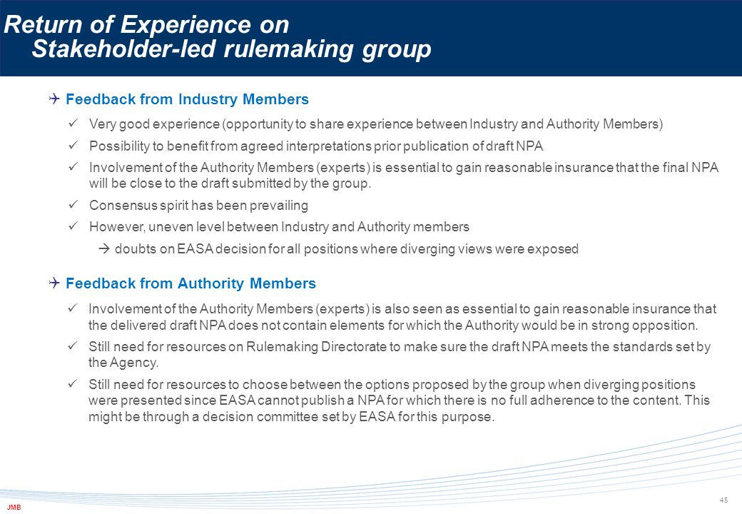  Feedback from Industry Members Return of Experience on Stakeholder-led rulemaking group 45  Feedback from Authority Members Very good experience (o