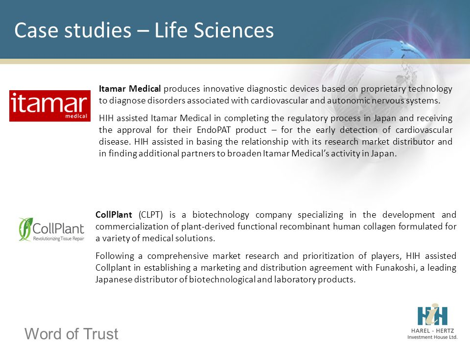 Word of Trust Case studies – Life Sciences Itamar Medical produces innovative diagnostic devices based on proprietary technology to diagnose disorders associated with cardiovascular and autonomic nervous systems.