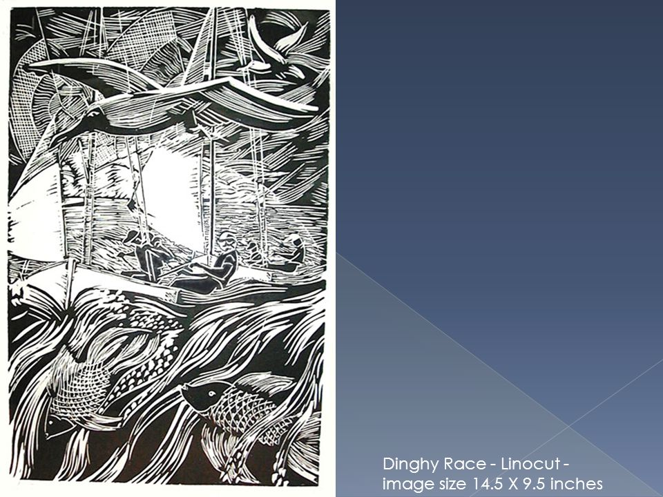 Dinghy Race - Linocut - image size 14.5 X 9.5 inches edition 25