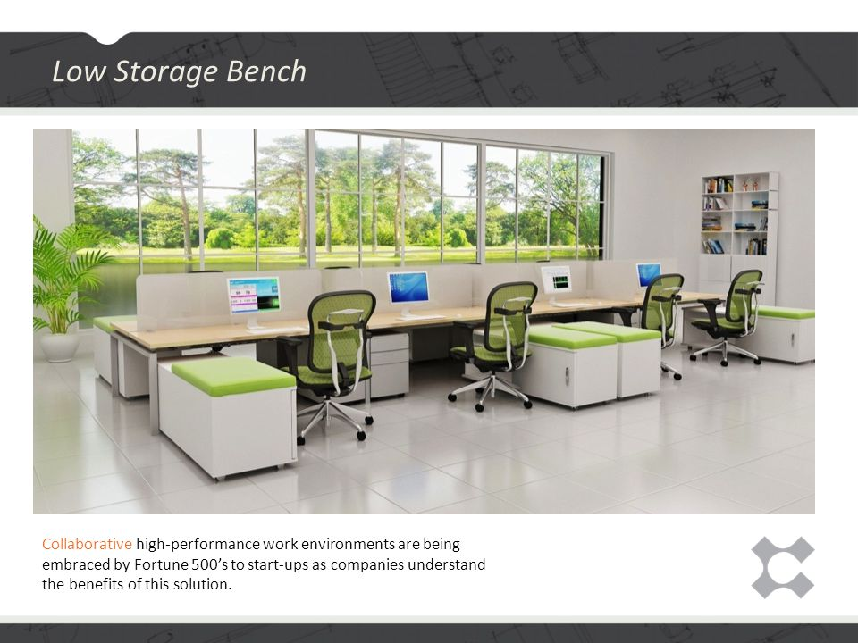 Low Storage Bench Collaborative high-performance work environments are being embraced by Fortune 500's to start-ups as companies understand the benefits of this solution.