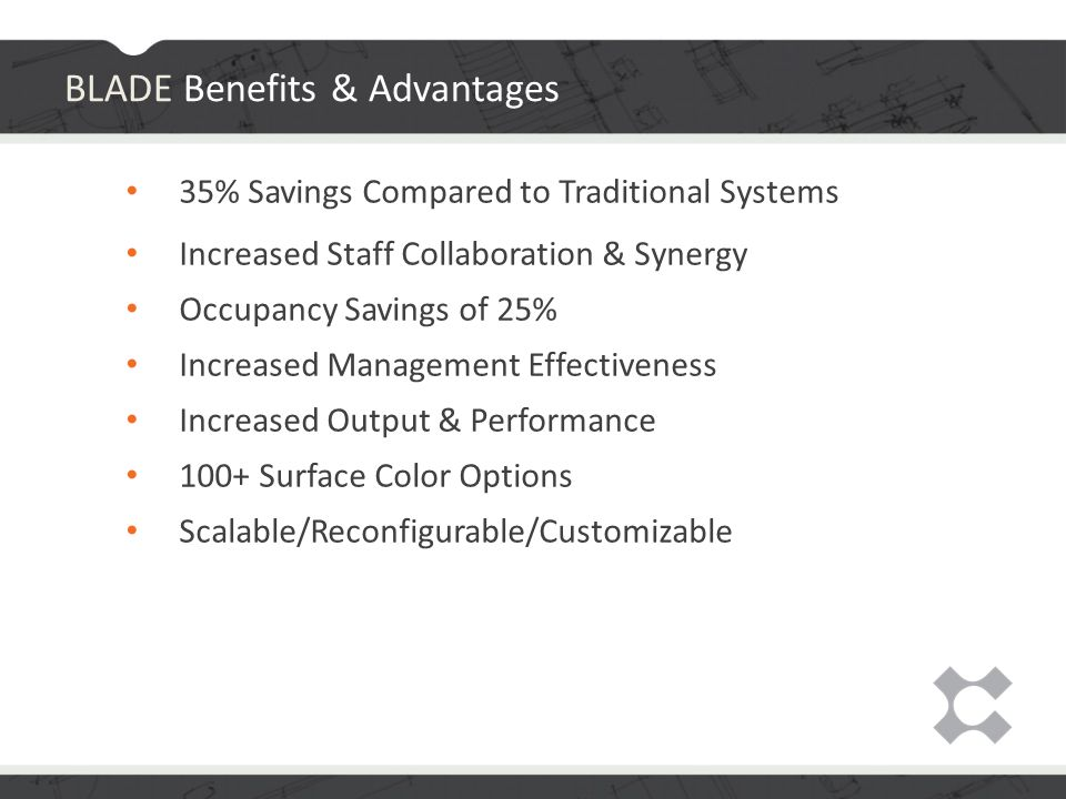 35% Savings Compared to Traditional Systems Increased Staff Collaboration & Synergy Occupancy Savings of 25% Increased Management Effectiveness Increased Output & Performance 100+ Surface Color Options Scalable/Reconfigurable/Customizable BLADE Benefits & Advantages