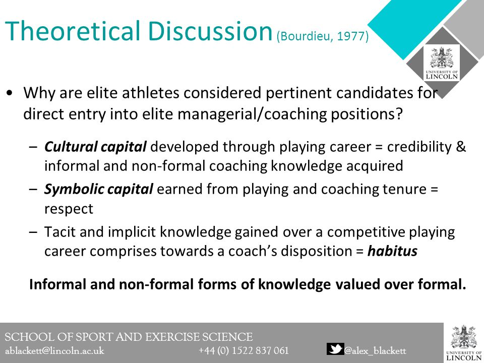 SCHOOL OF SPORT AND EXERCISE SCIENCE ablackett@lincoln.ac.uk +44 (0) 1522 837 061@alex_blackett Theoretical Discussion (Bourdieu, 1977) Why are elite athletes considered pertinent candidates for direct entry into elite managerial/coaching positions.