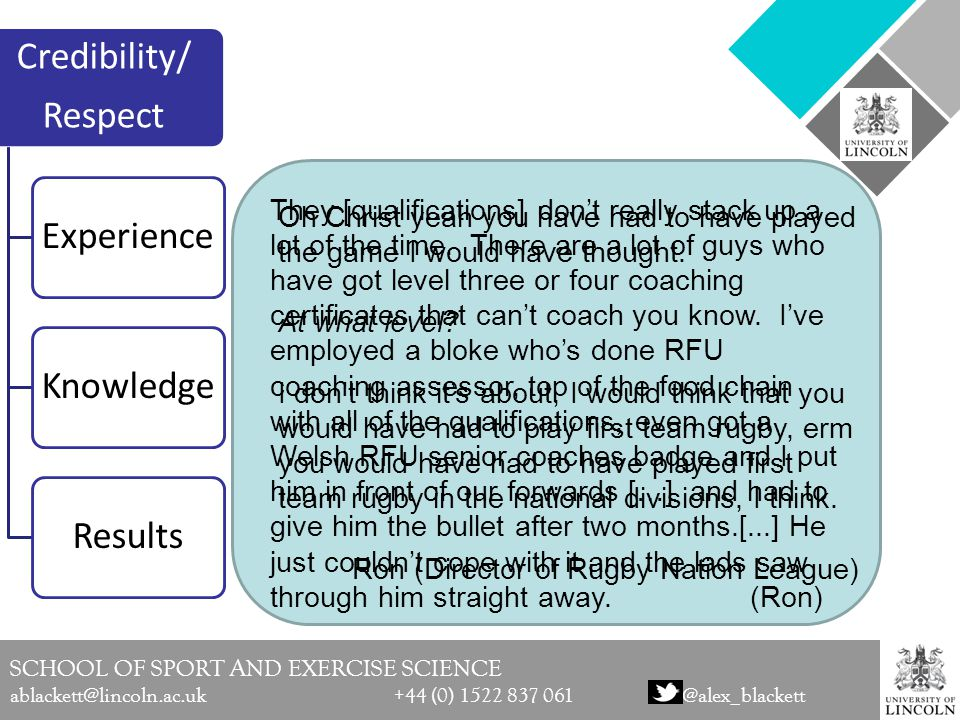 SCHOOL OF SPORT AND EXERCISE SCIENCE ablackett@lincoln.ac.uk +44 (0) 1522 837 061@alex_blackett Theoretical Discussion (Bourdieu, 1977) Coaches = arbiters of taste when identifying playing talent (Christensen, 2009) Arbiters of taste = the club hierarchy –Board members act as 'cultural custodians' of club values when making managerial appointments with the candidate being required to embody the club values = Hexis –Managerial and coach appointments largely remain within the field and in-house which perpetuates a fast-tracking culture of appointing elite athletes to elite coaching positions = Doxa → Symbolic Violence (ethnic minorities & women?) (the norm) → (discriminates)