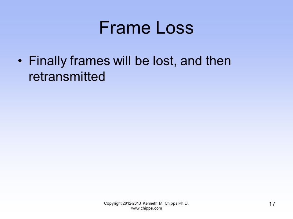 Frame Loss Finally frames will be lost, and then retransmitted Copyright 2012-2013 Kenneth M.