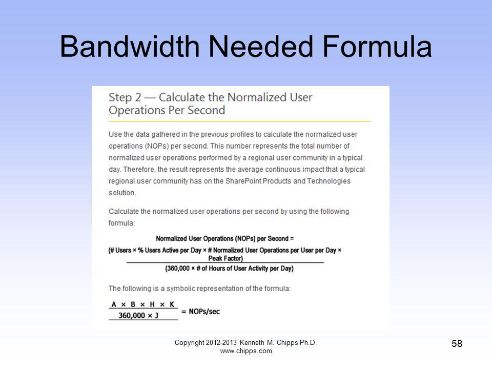 Bandwidth Needed Formula Copyright 2012-2013 Kenneth M. Chipps Ph.D. www.chipps.com 58