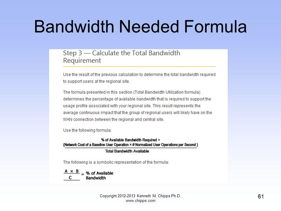 Bandwidth Needed Formula Copyright 2012-2013 Kenneth M. Chipps Ph.D. www.chipps.com 61