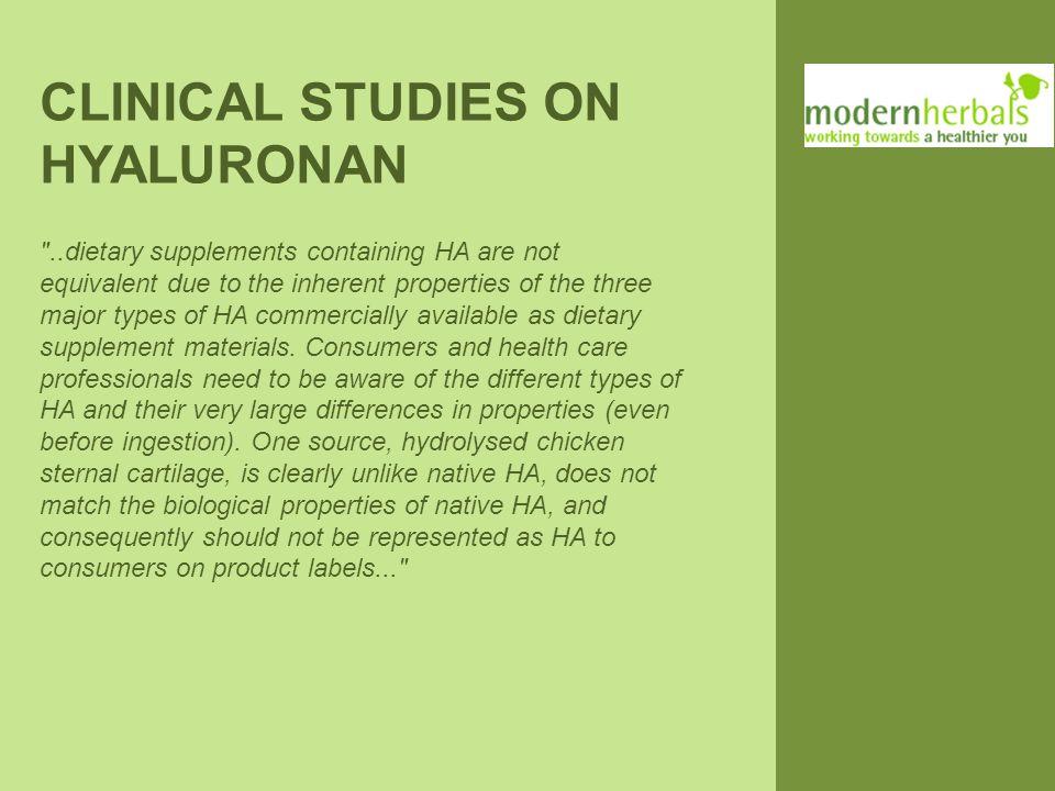 CLINICAL STUDIES ON HYALURONAN