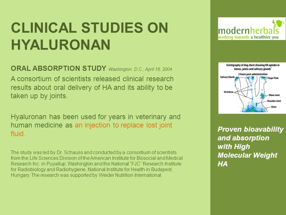 CLINICAL STUDIES ON HYALURONAN ORAL ABSORPTION STUDY Washington.