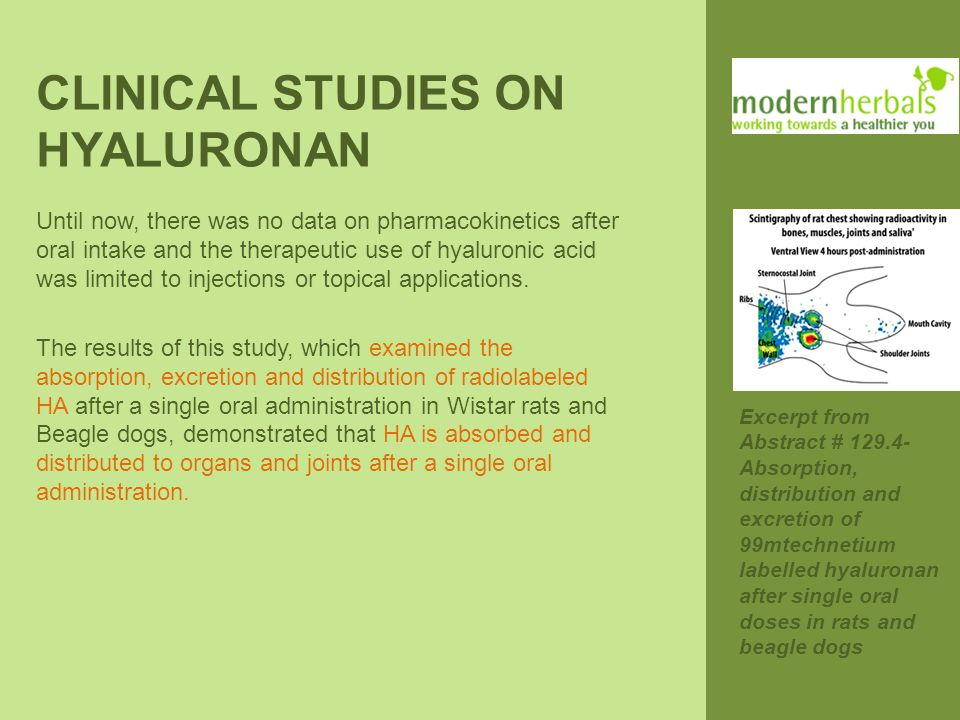 CLINICAL STUDIES ON HYALURONAN Until now, there was no data on pharmacokinetics after oral intake and the therapeutic use of hyaluronic acid was limit